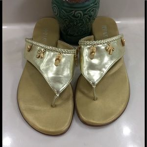 """""""Calina"""" Gold Strap Charms Sandals"""